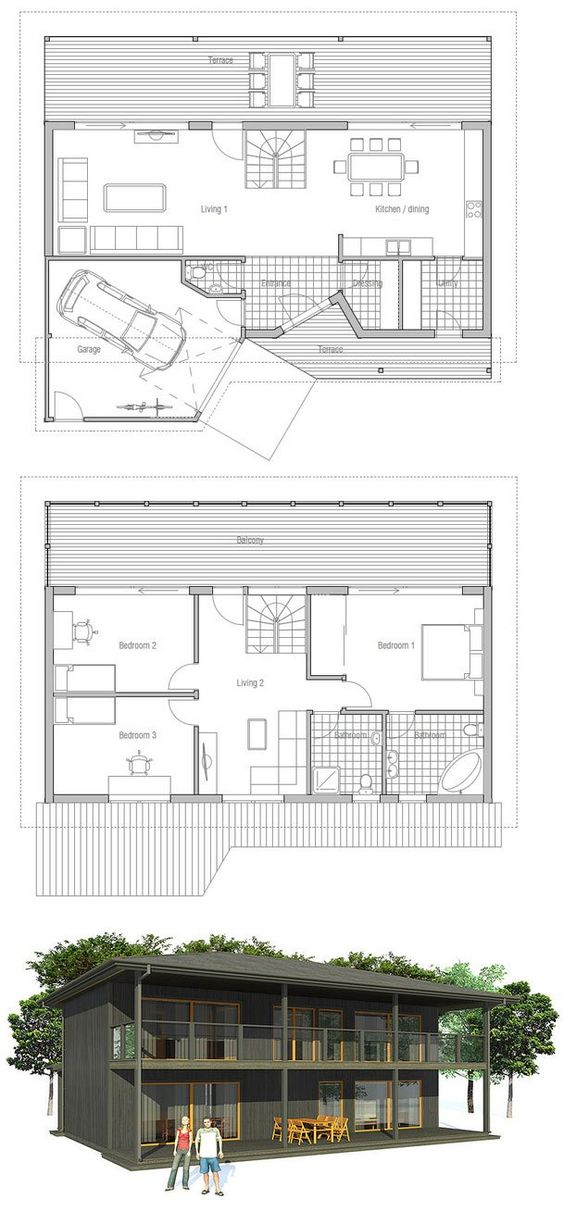 Small Home Plan Two Floors Three Bedrooms Spacious