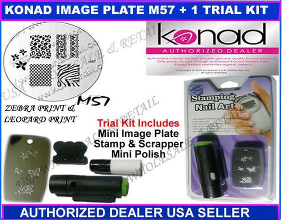 Konad Stamping Nail IMAGE DESIGN  PLATE M57 + TRIAL KIT USA SELLER #TrailKitBeginnersKitPlateM57
