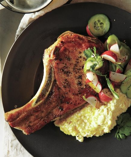 Pork Chops and Cotija Corn Puree With Radish, Cucumber, and Lime Salad Whirl these flavors together to create a rich corn puree that's delicious with pork chops.