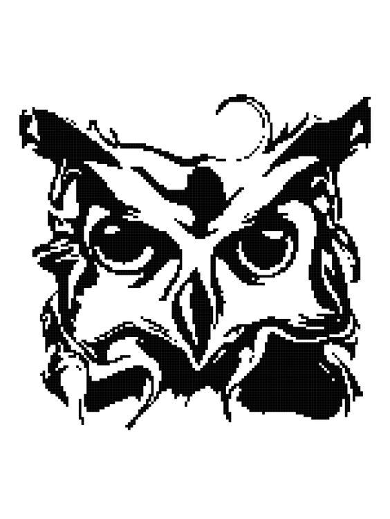 Owl Silhouette II Blanket Pattern