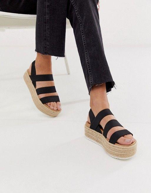 Steve Madden Sparrow black espadrille flatform sandals | ASOS