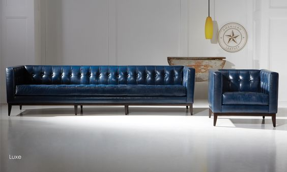 American Leather blue leather sofa & chair