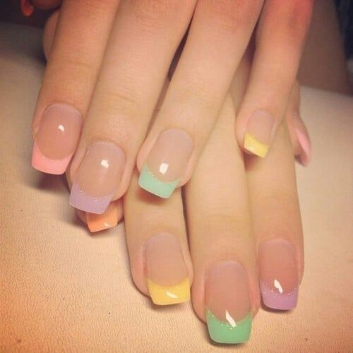 5 French Tip Nail Designs For Short Nails Gel Nail Art Designs Colored French Nails Nail Designs