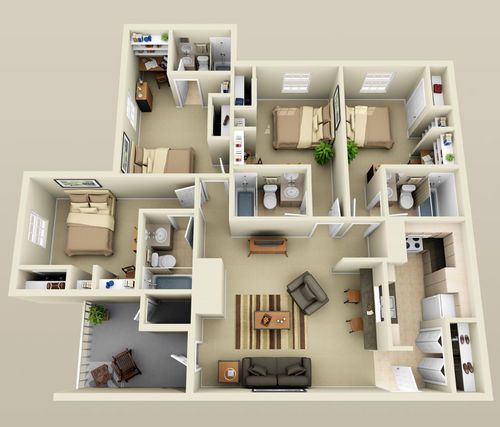 4 bedroom small house plans 3d 2 for Apartment design plans 3d