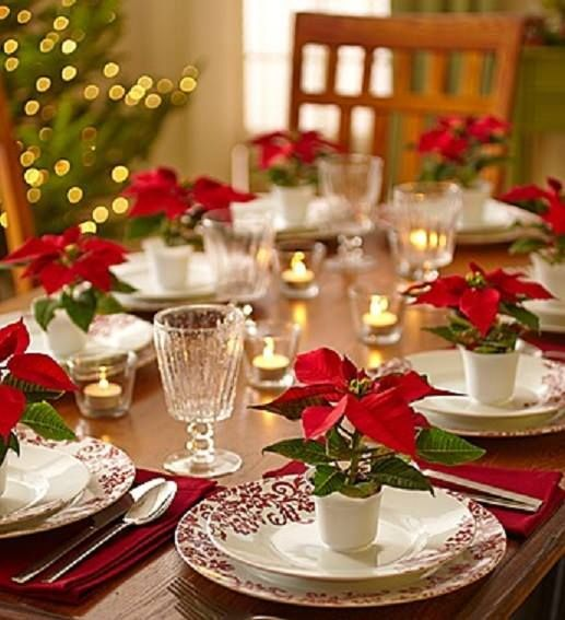 Mini Poinsettias for each person (as placecards/settings)  - Description of what your article