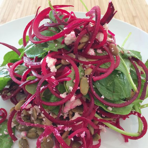 Spiraled Beets, Spinach, Pepitas and Goat's Cheese.