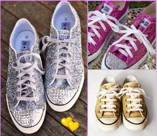 Customização de tênis com glitter