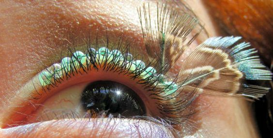 Turquoise Lace Eyelash Jewelry, feather eyelashes in a pretty shade of teal
