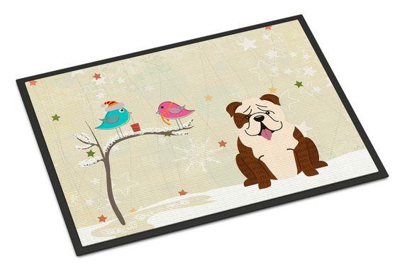 Christmas Presents between Friends English Bulldog Brindle White Indoor or Outdoor Mat 24x36 BB2593JMAT