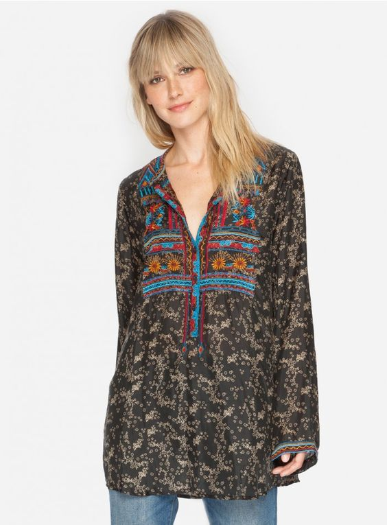Elly Blouse Embrace globally-inspired style in the BIYA ELLY BLOUSE. This tunic top features bold embroidery down the front. Layer the ELLY BLOUSE over a colorful silk camisole and jeans for an easy boho look!  - Traditional Collar, Long Sleeves - Signature Embroidery - Care Instructions: Machine Wash Cold, Tumble Dry Low