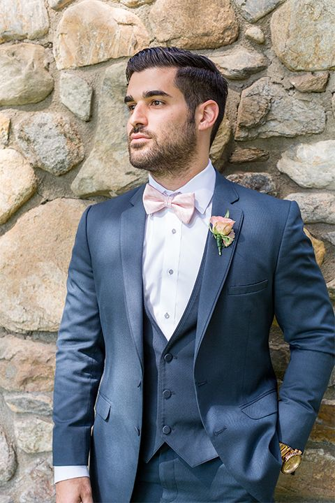 Spring Inspired Wedding Shoot At Montelone Meadows Groom Slate Blue Suit With Matching Vest And White Groom Blue Suit Blue And Blush Wedding Blue Suit Bow Tie