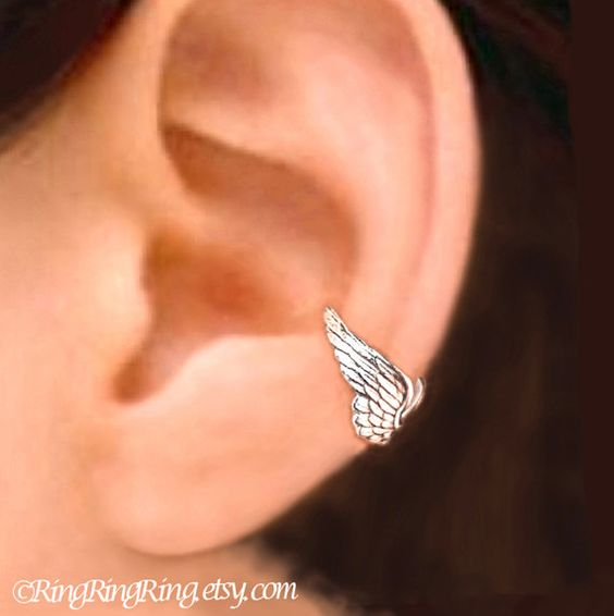100% Solid .925 Sterling Silver. Tiny Angel Wing ear cuff cartilage earrings. Unique handmade jewelry by RingRingRing on Etsy. It is for men and