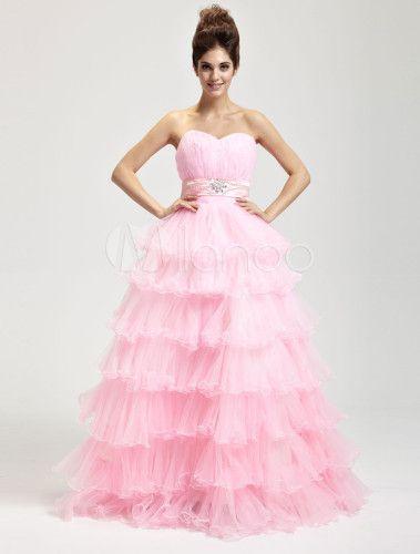 Pink Hard Yarn Floor Length Masquerade Ball Gowns - Milanoo.com