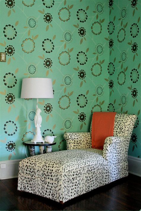"Amie Corley wallpapered this room in her St. Louis home in Neisha Crosland's ""Birdtree"" paper and had her grandmother's chaise reupholstered in Brunschwig's ""Les Touches."""