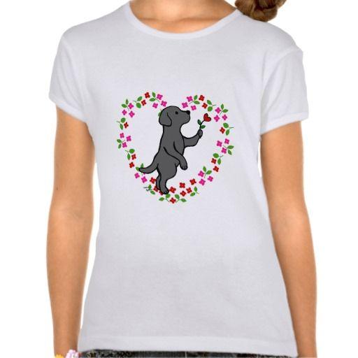 Black Labrador Tiny Heart Flower Tee Shirts for girls!  Adorable Black Labrador design by HappyLabradors.com