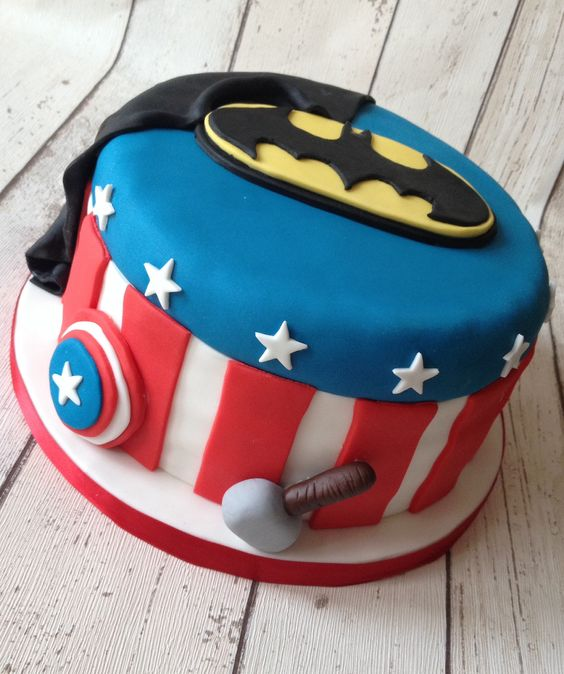 Superhero birthday cake - Batman, Captain America & Thor