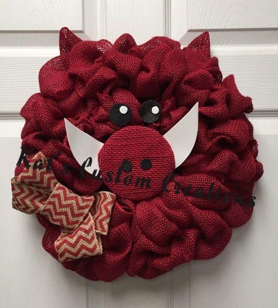 Burlap Razorback Wreath with Red Chevron Bow!