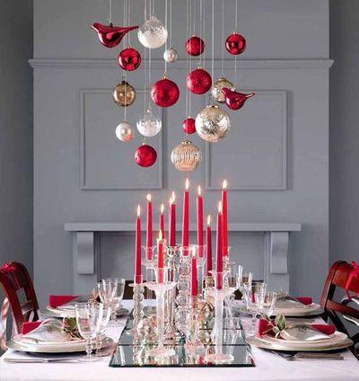 Une table de Noël dominée par un mobile rouge et or