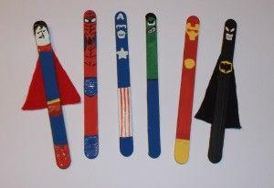 Super heroes popsicle crafts Superman, iron man, spiderman, superman, captain america, hulk