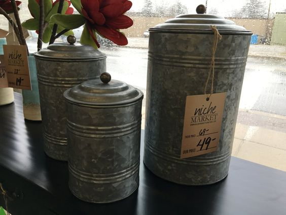 Set of Three Tall Galvanized Canisters - Niche Market Furniture