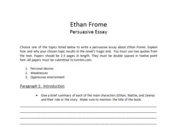 ethan frome fate essays Essay q&a 1 do ethan, mattie and zeena deserve their fate many readers  would answer that they do not the critic lionel trilling is among them in the.