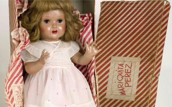 Muñeca española de los años 40, hecha de cartón piedra ojos durmientes y pelo natural