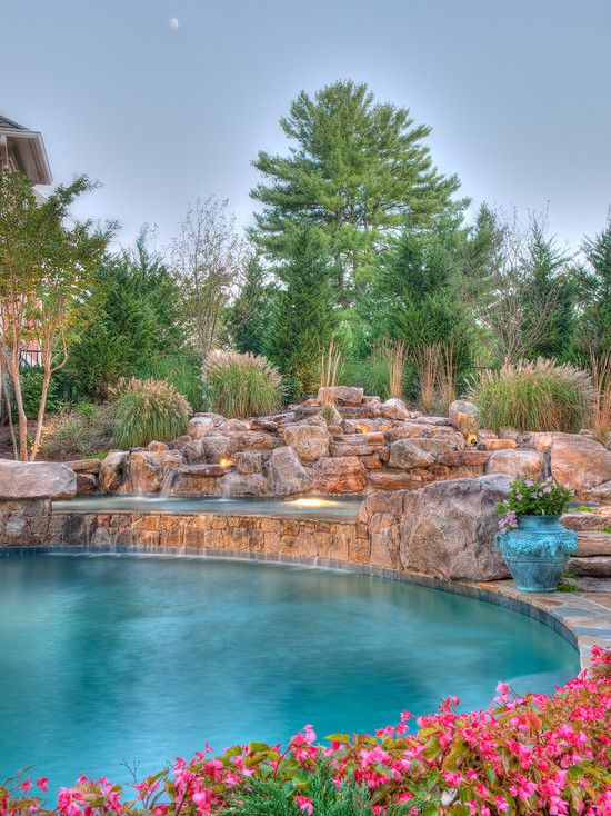 Beautiful swimming and design on pinterest for Swimming pool waterfalls construction