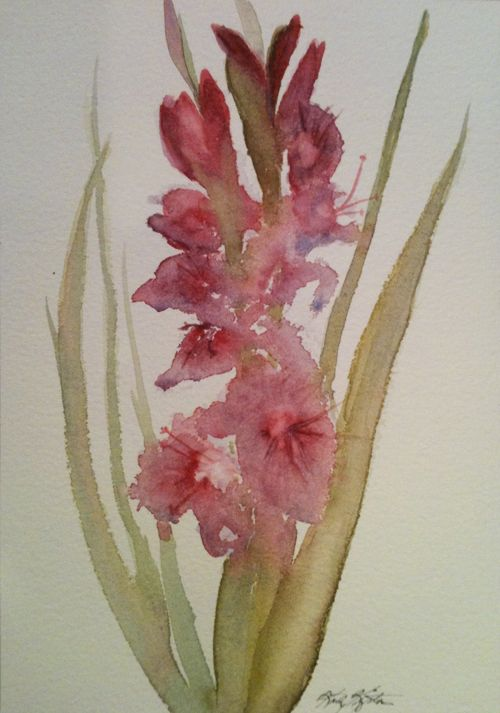 Watercolor Painting of Gladiola | Kathy's Art: Gladiolus ...