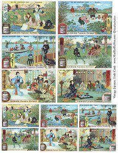 Japanese trade card collage