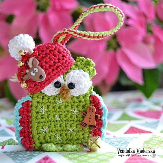Crochet christmas owl ornament crochet pattern DIY von VendulkaM