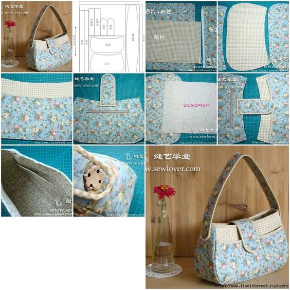 Handmade fabric shoulder bag bags good ideas and fabrics for Step by step to build a house yourself