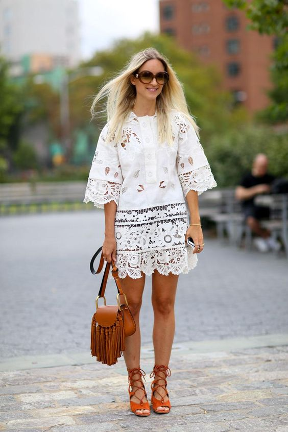 95 Killer Outfits To Copy from Fall 2015 New York Fashion Week - gorgeous LWD (little white dress) in lace with gladiator sandals and a boho fringed bag