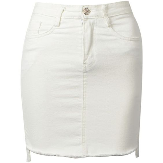Choies White Denim High Waist Dipped Hem Pencil Skirt (77 BRL) ❤ liked on Polyvore featuring skirts, bottoms, white, white knee length pencil skirt, high-waisted pencil skirts, white high low skirt, hi low skirt and white pencil skirt