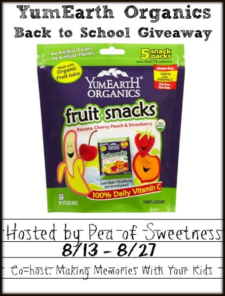 Back to School Giveaway: YumEarth Organics Fruit Snacks with real fruit juice and organic ingredients. Gluten-free, Nut-free, dye-free, fat-free, dairy-free