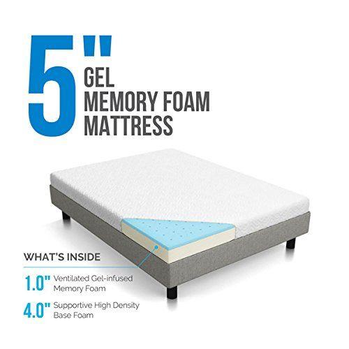 Lucid 5 Inch Full Size Gel Memory Foam Mattress Memory Foam