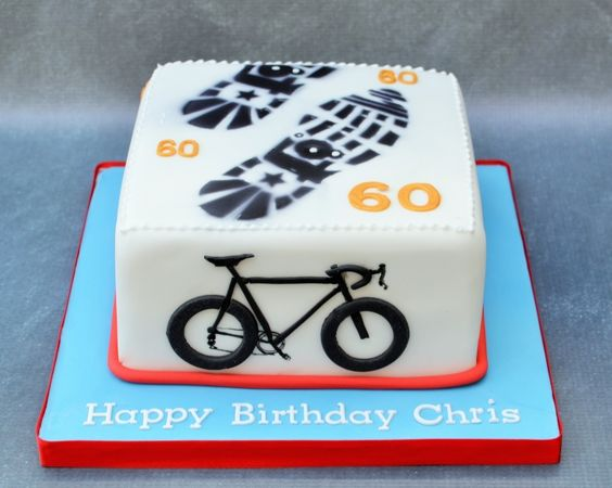 Cake Decorations For A 60th Birthday : A 60th Birthday Cake for a keen cyclist/runner! 60 cakes ...