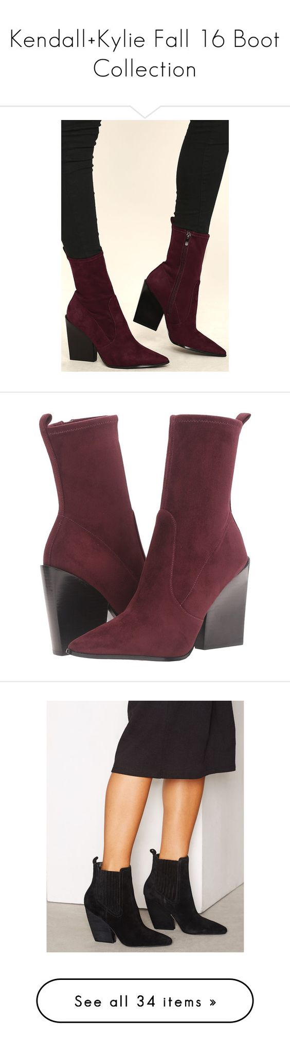 """""""Kendall+Kylie Fall 16 Boot Collection"""" by stylepersonal ❤ liked on Polyvore featuring shoes, boots, red, pointed-toe boots, zip boots, red suede boots, red mid calf boots, suede boots, pumps and burgundy suede shoes"""