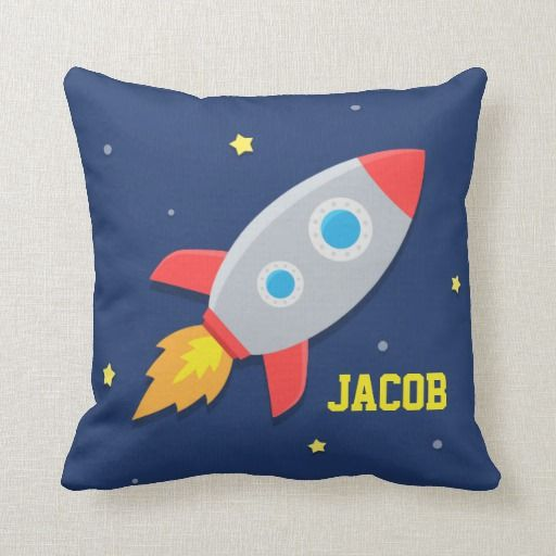 Rocket Ship Outer Space For Kids Room Throw Pillow Zazzle Com