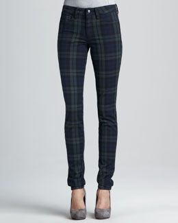 T54MD Joe's Jeans The School Yard Plaid Skinny Jeans
