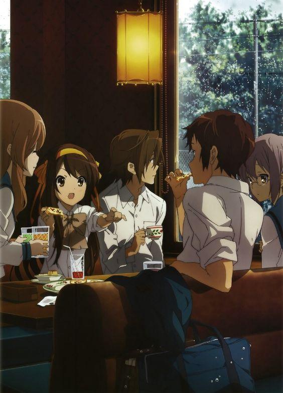 みんなでファミレスでお茶をしている「涼宮ハルヒの憂鬱」の画像