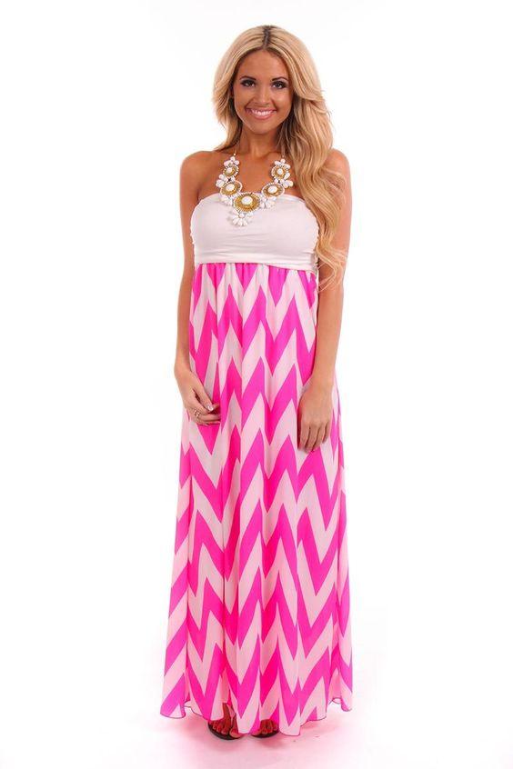 Lime Lush Boutique - Hot Pink Strapless Chevron Dress, $37.99 (http://www.limelush.com/hot-pink-strapless-chevron-dress/)