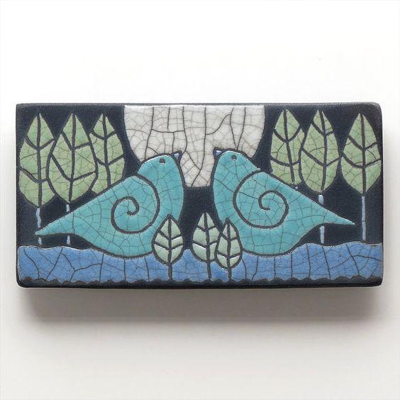 birdsceramic tile handmade wall art home decor 3x6 raku fired art