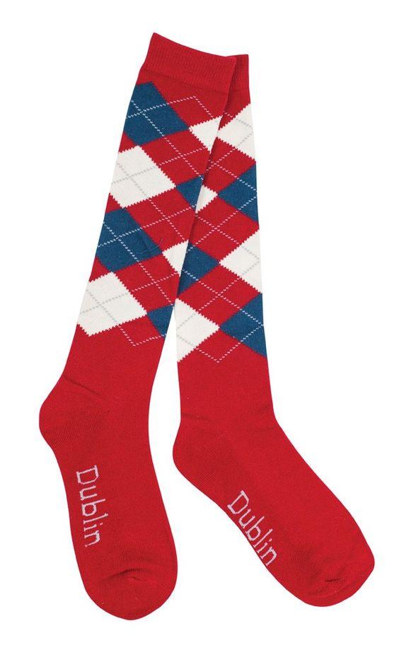 DUBLIN ARGYLE SOCKS RED/NAVY/WHITE. Horseland