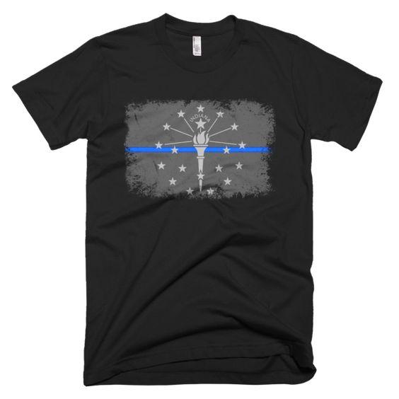 Blue Line Indiana State Flag Short sleeve men's t-shirt