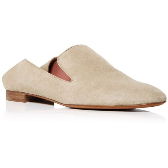 Bally     Boell Suede Mules (3,955 GTQ) ❤ liked on Polyvore featuring shoes, nude, mule shoes, bally shoes, pointy toe mules, suede mule shoes and suede mules