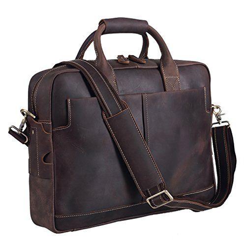 """Mens Genuine Leather messenger bag for 15/"""" laptop shoulder bag briefcase USA"""