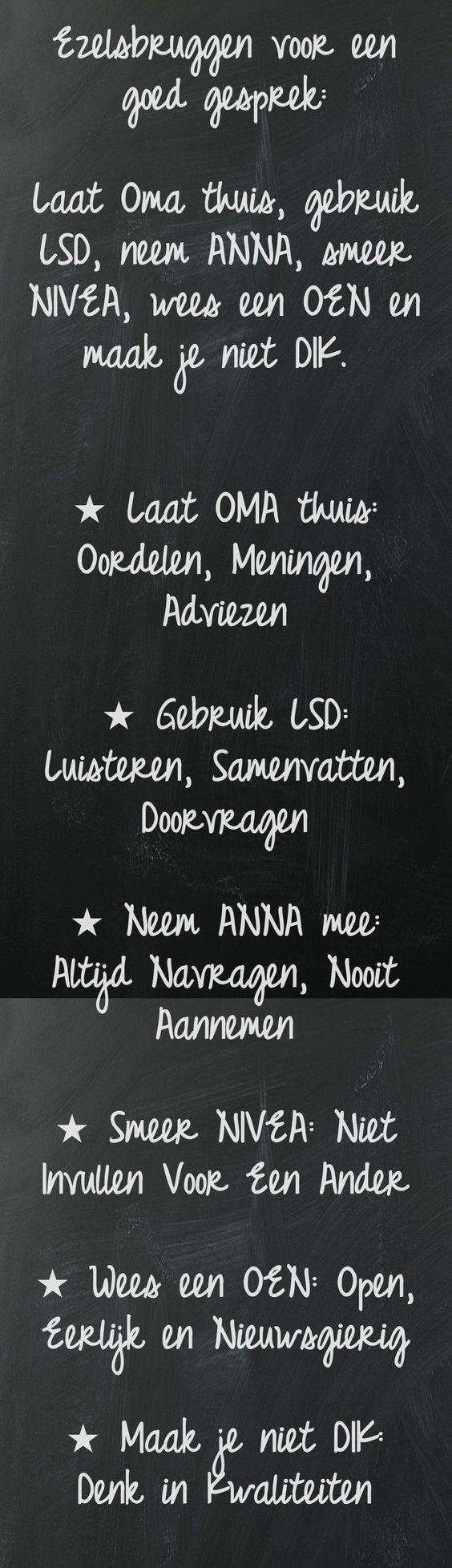Een goed gesprek: OMA, NIVEA, LSD, ANNA, OEN en DIK Ook eens gekregen van onze directeur net voor het oudercontact ;-):