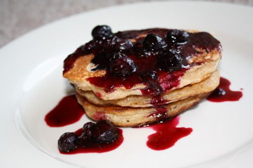 Blueberry Yogurt Multigrain Pancackes with Blueberry Compote