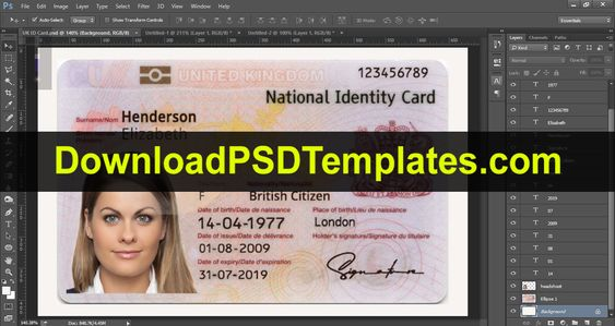 United Kingdom National Identity Card Template Uk Id Card Within Florida Id Card Template Cumed Org Id Card Template Card Template Templates