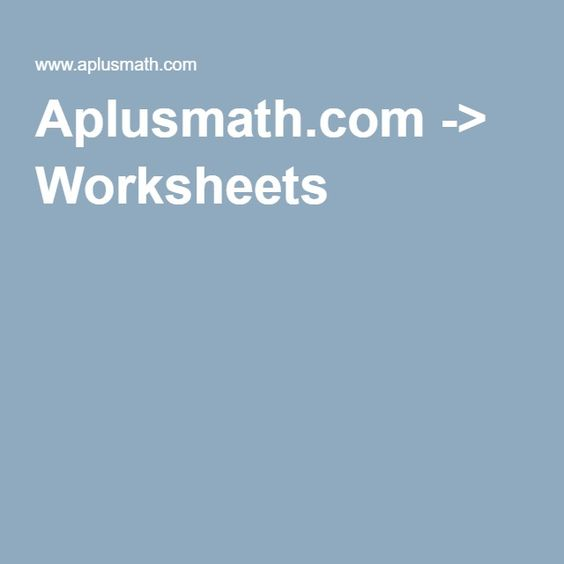 Aplusmath.com -> Worksheets | Creating Resources | Pinterest